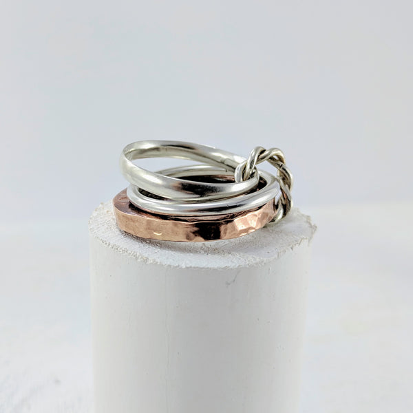 Triple Love Link Ring - Silver & Copper by GG Jewellery