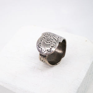 Moroccan Wedder Ring, oxidised silver by GG Jewellery