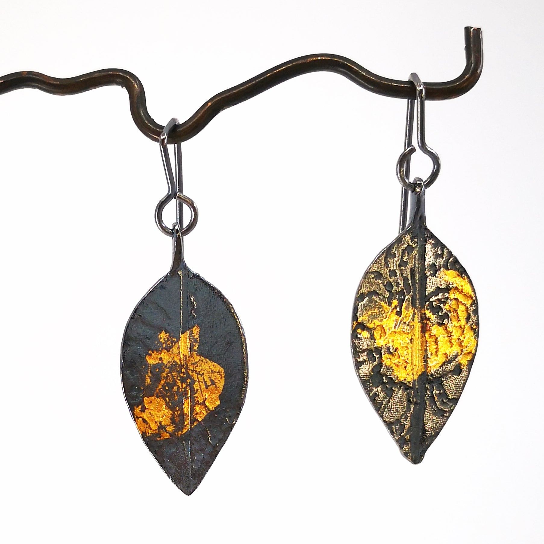 Pohutakawa Leaf Earring - Oxidised Silver and 24ct gold leaf