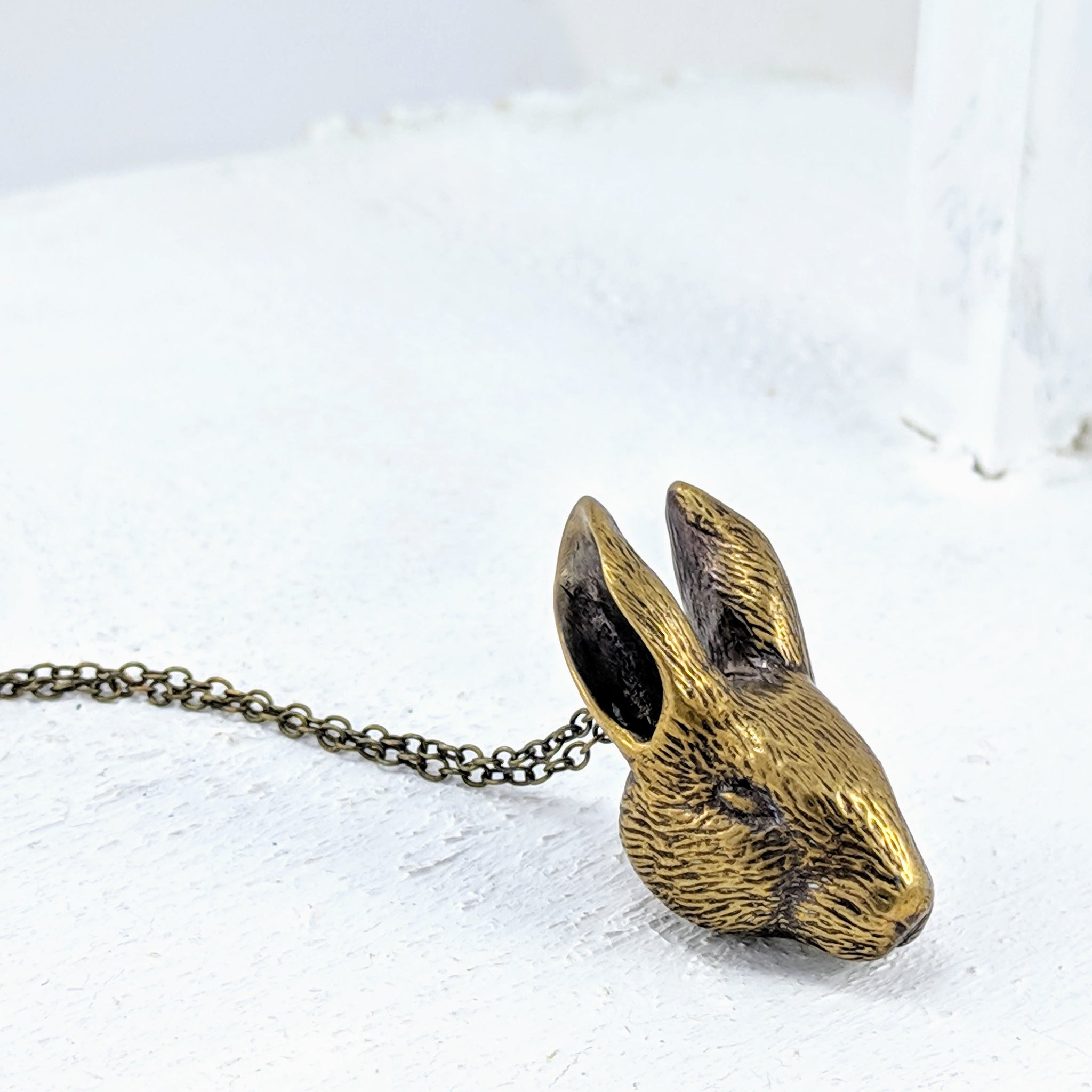 Bronze Bunny Head pendant on a bronze chain. By Vaune Mason