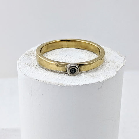 Simple Gold Ring with Blue Diamond