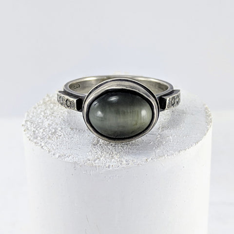 Grey Quartz & Diamond Ring