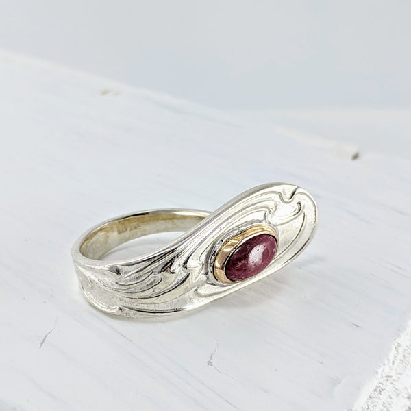 Teaspoon ring with Rhodonite & Gold