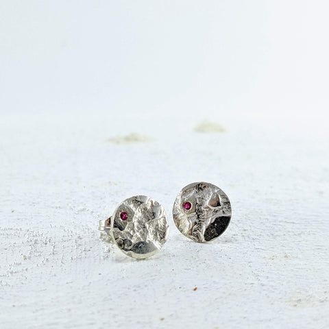 Silver Lace  & Ruby Studs - Small