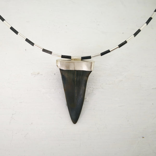 A close up of the back of the fossilised mako shark tooth set in silver on the piupiu necklace by Keri-mei Zagrobelna.
