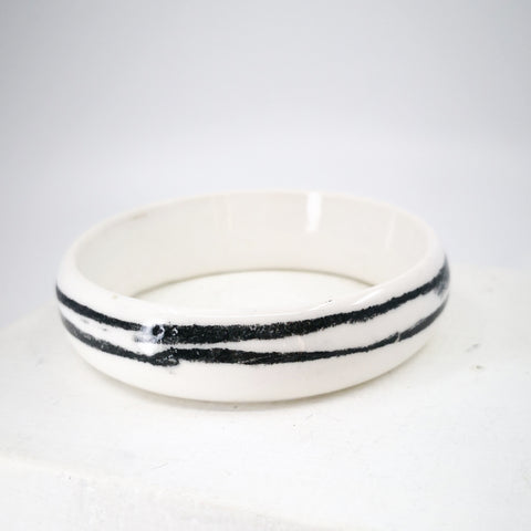Porcelain Bangle with Black Stripes by Marita Green