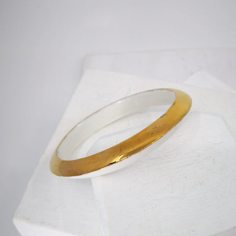 White & Gold Porcelain Bangle by Marita Green