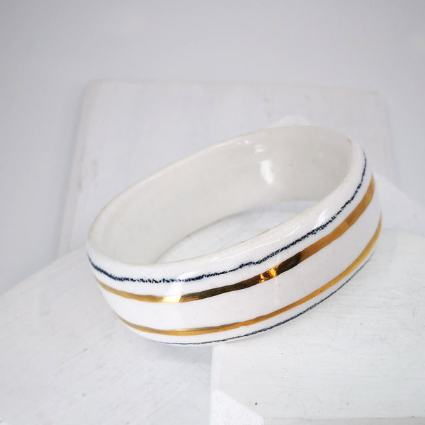 Porcelain Bangle with Black and Gold Stripes by Marita Green