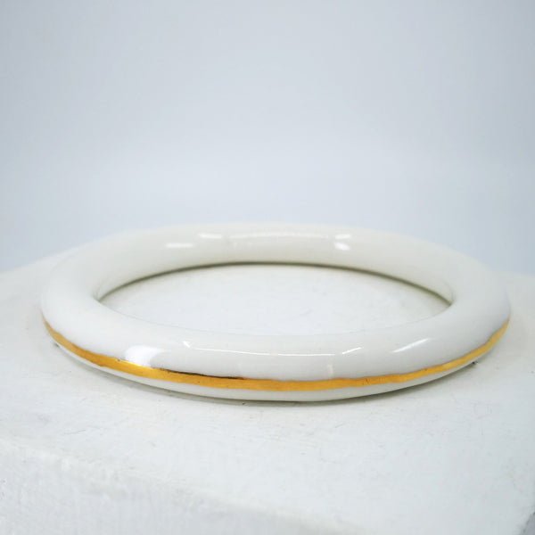 Porcelain Bangle with Gold Stripe by Marita Green