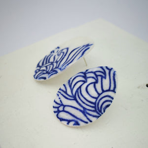 Blue petal print earrings by Marita Green
