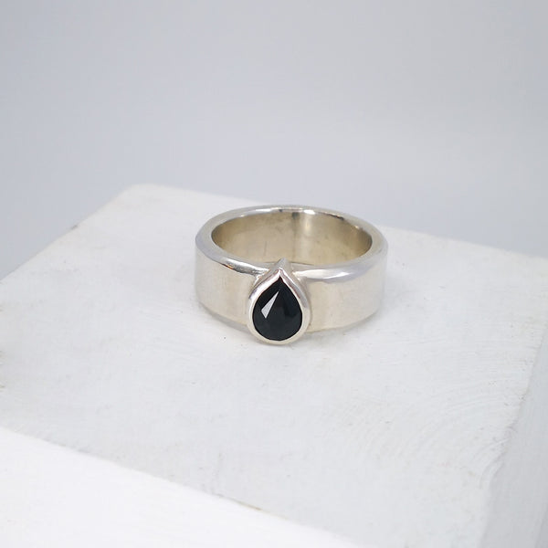 Silver and Sapphire Teardrop Ring by Nick Rule