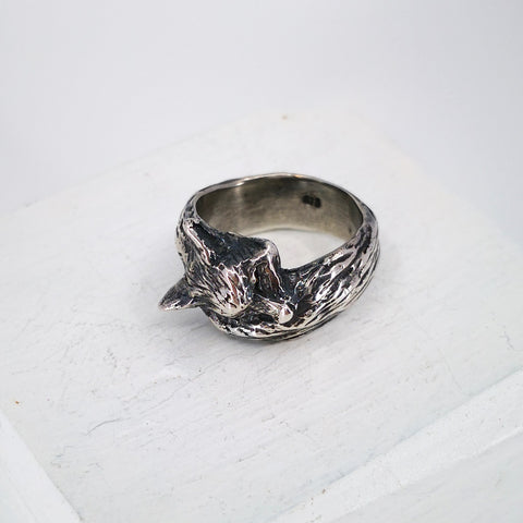 Sleeping fox ring by Nick Rule in oxidised sterling silver