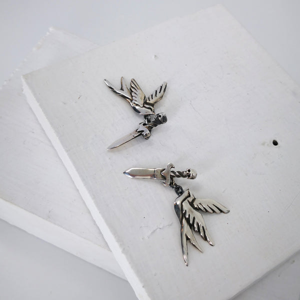 Swallow and dagger cufflinks by Nick Rule