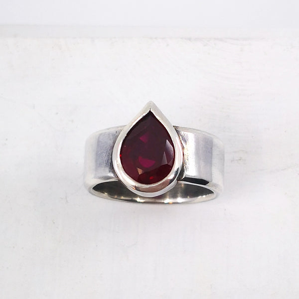 Detail of Silver and Ruby Teardrop Ring by Nick Rule