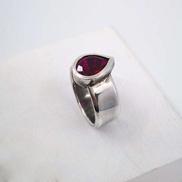 Silver and Ruby Teardrop Ring by Nick Rule