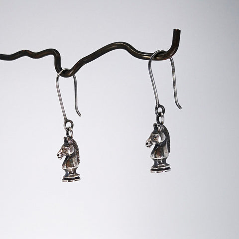 Knight Chess Piece Earrings in oxidised silver by Nick Rule