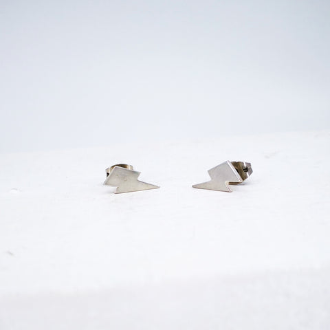 Lightning bolt studs in sterling silver by Nick Rule