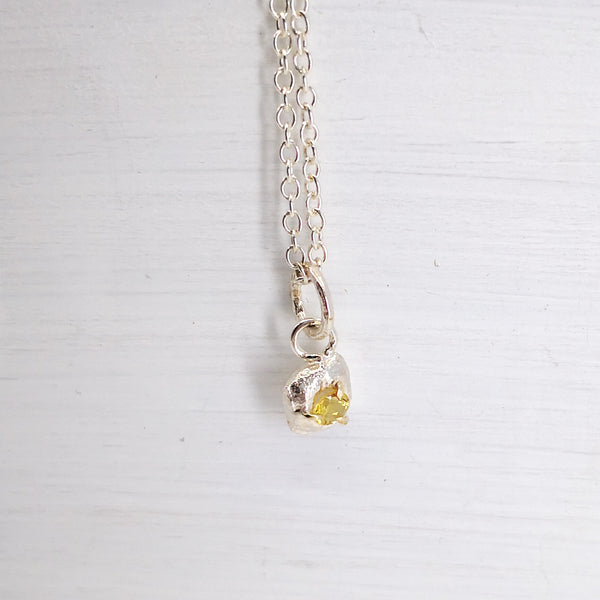 Detail view of Yellow Beryl Droplet Necklace by Natalie Salisbury