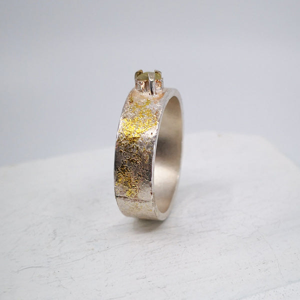 Rough diamond ring in silver with fused gold by Natalie Salisbury Jewellery