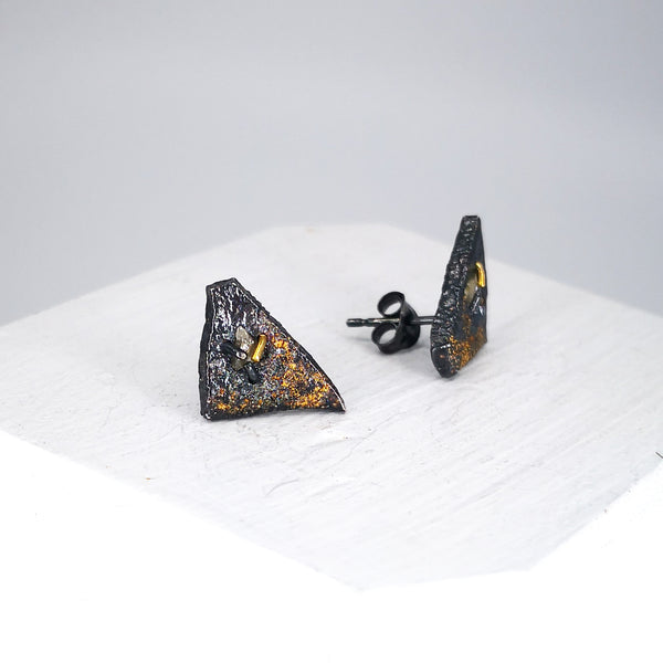 Back view of Geometric studs by Natalie Salisbury Jewellery.
