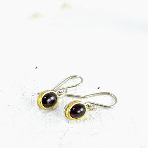 Oval Garnet Drops with Gold Settings