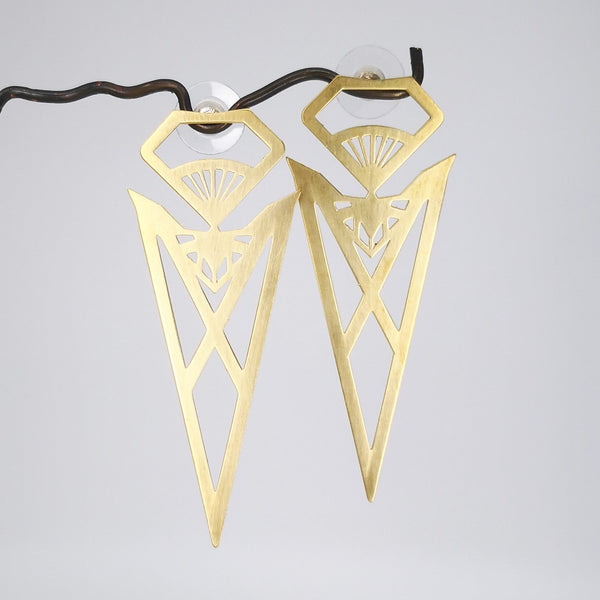 Pohutukawa Earrings in Brass by Banshee The Valkyrie, Big Boss Bitch Earring Collection.