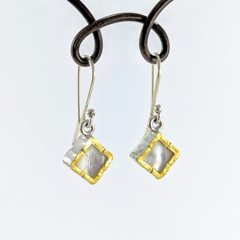 Square Drop Earrings - Mother of Pearl and 22ct Gold Edge