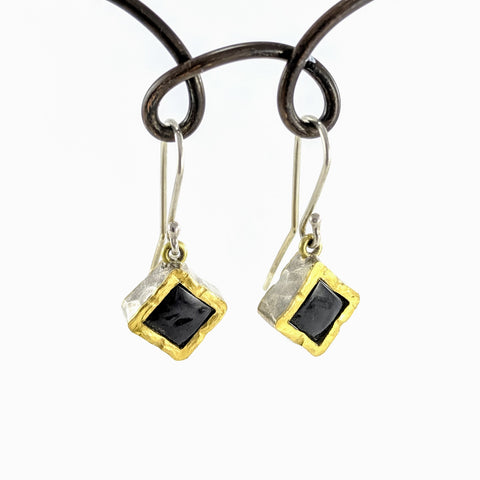 Square drop earrings in silver and gold, Black Jade by David McLeod