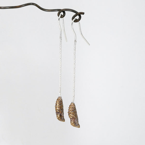 Chrysalis Earrings in solid bronze and sterling silver, hand-crafted by Tomas Richards.
