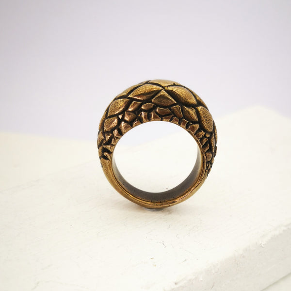 Tuatara ring in solid bronze by The Wild.  Tapered and textured with tuatara scales.