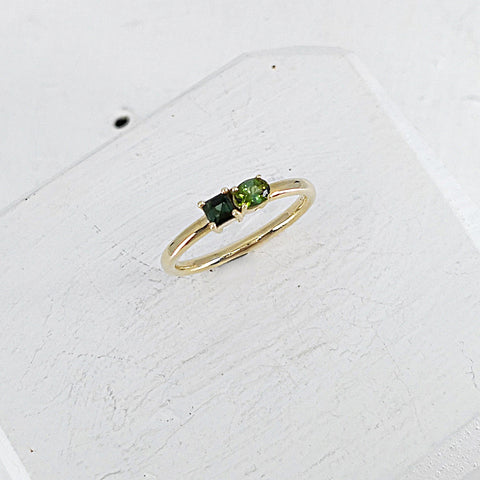 9ct gold ring with green tourmaline by Zoë Porter Jewellery, handmade