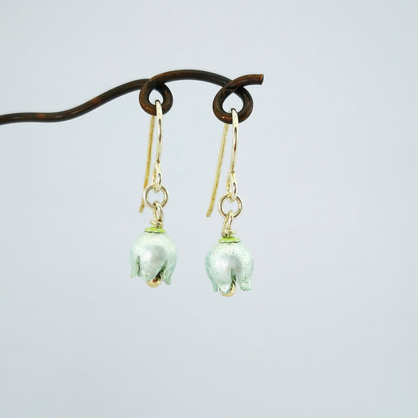 Lily of the Valley drop earrings by Adele Stewart. Fine silver and enamels.