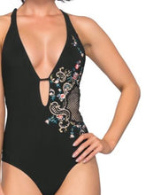 Load image into Gallery viewer, Enchantment Embroidered Plunge One Piece Suit