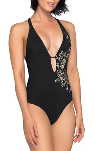 Enchantment Embroidered Plunge One Piece Suit