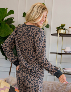 Zara Leopard Shorts and Button Up Top Loungewear