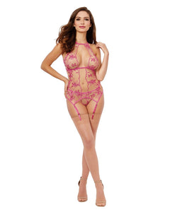 Suzette Embroidered Sheer Mesh Slip & Panty