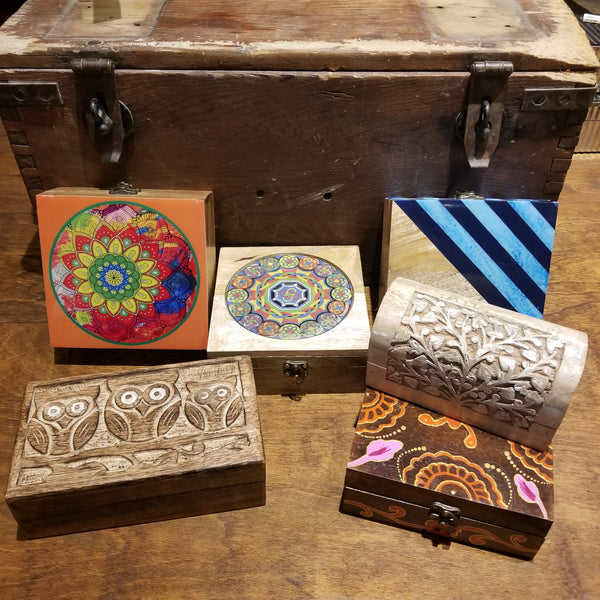 Carved Wooden Boxes - $24