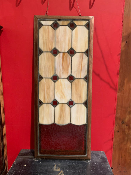 Vintage Stained Glass Window in Frame
