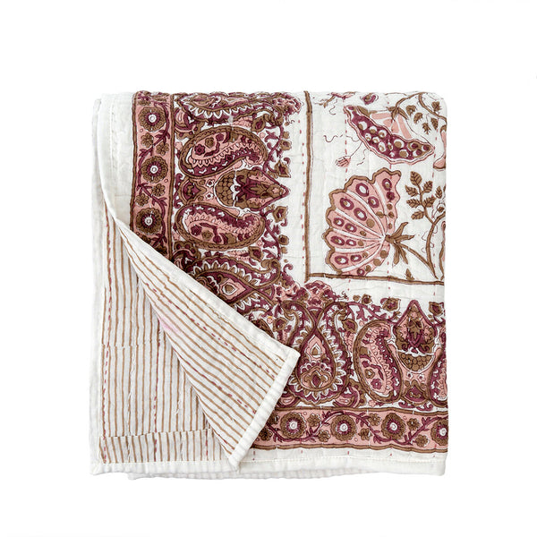 Blooming Quilted Throw, Burgundy