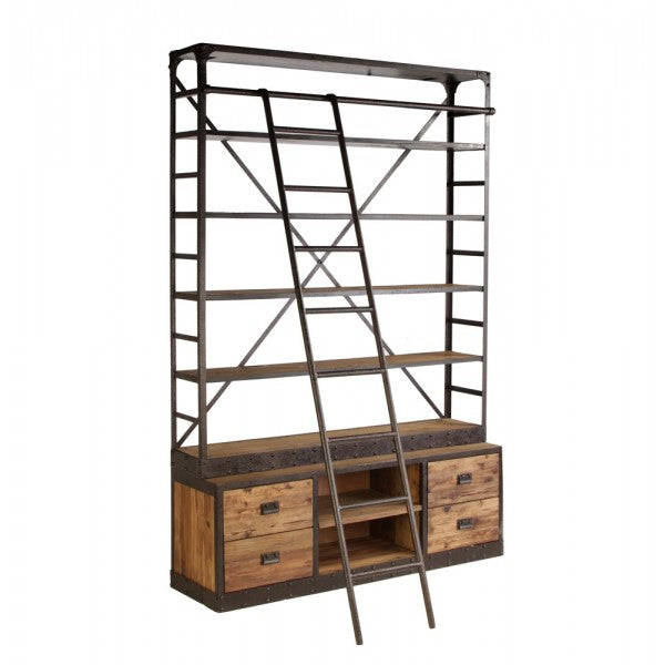Industrial Metal Shelf with Ladder