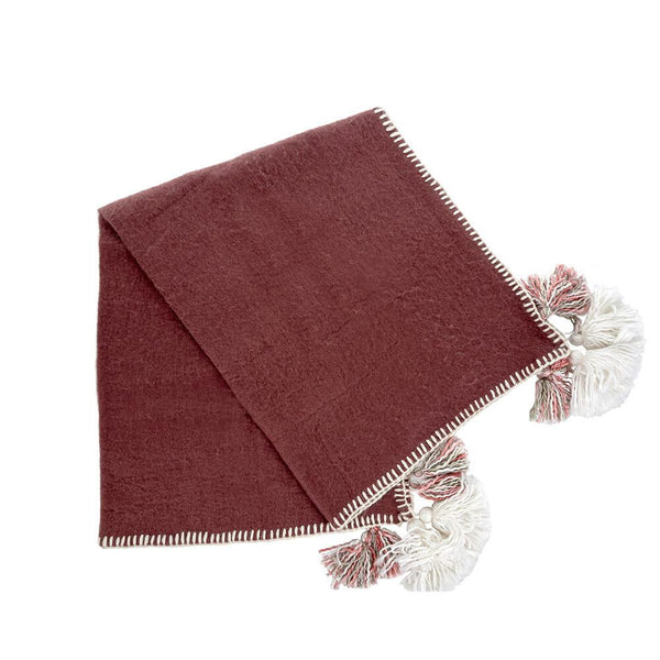 Tassel & Trim Throw, Plum