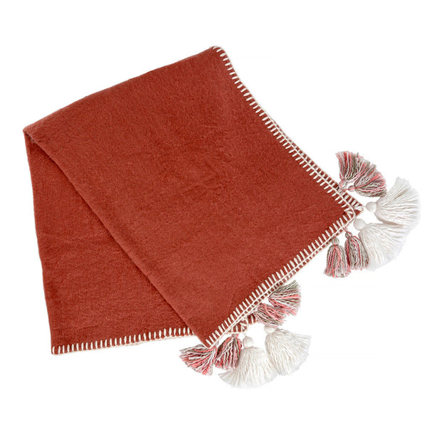 Tassel & Trim Throw, Rust