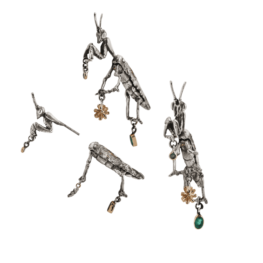Praying Mantis Double Earrings