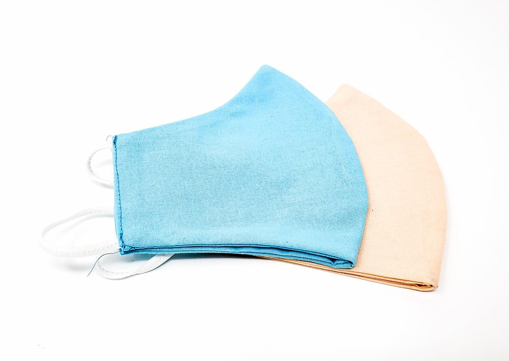 Organic reusable mask - 100% cotton - Bleu Émail