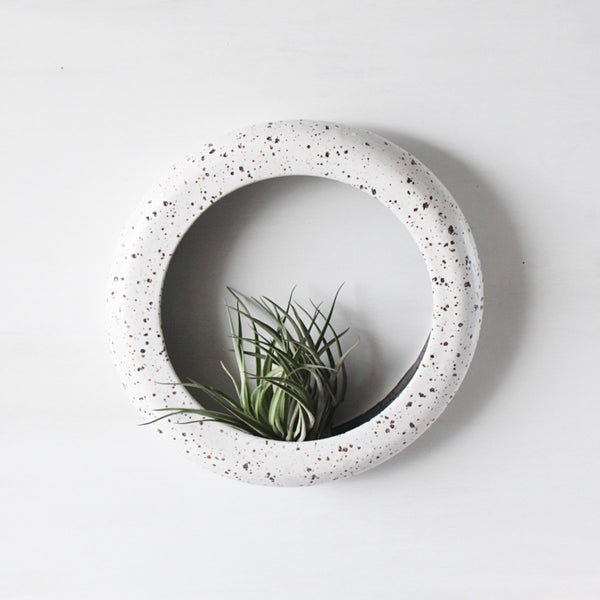 Colossal one of a kind O-planter in Speckled White. Terrarium, rustic home decor, air plant, hanging contemporary planter.