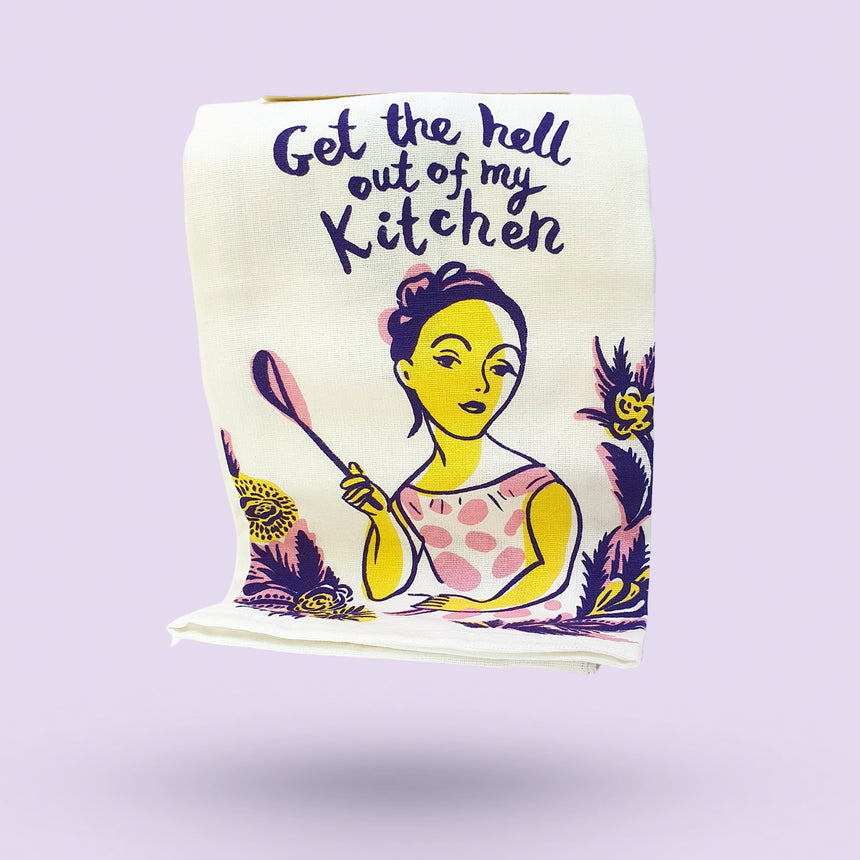 Get The Hell Out Dish Towel by Blue Q - Happy Factory