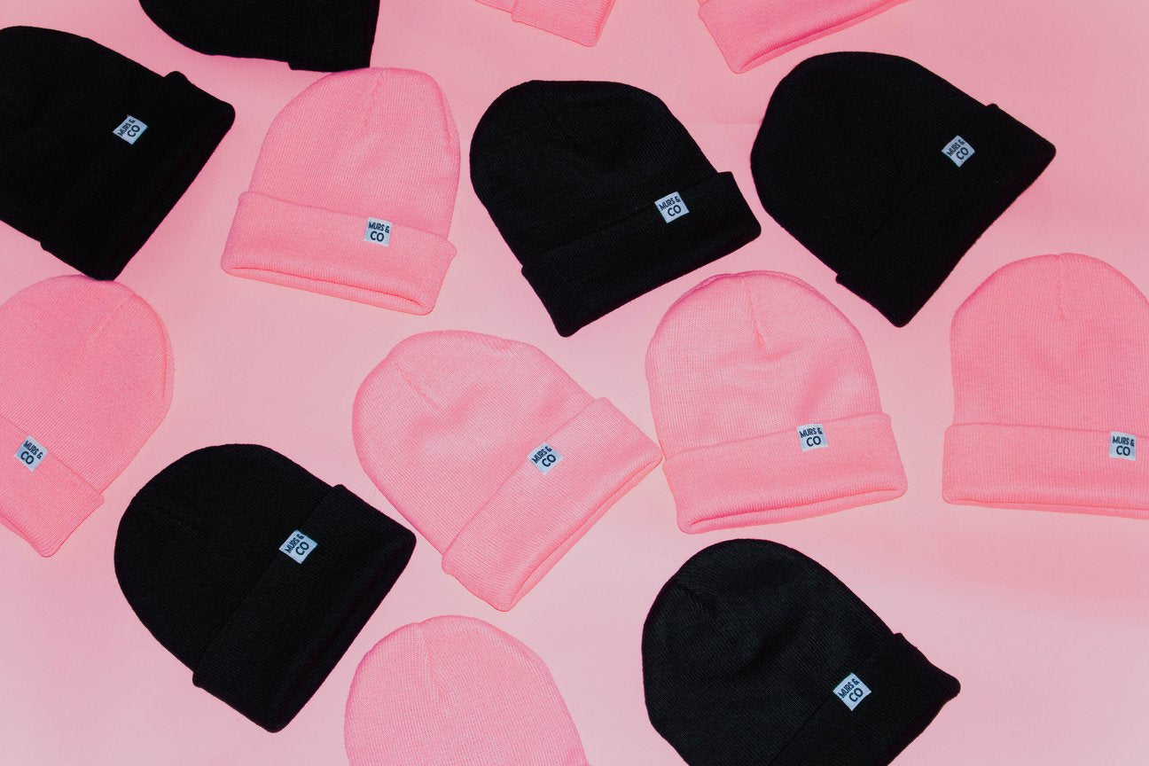 Cuffed M&C Tag Beanie in Pink - Murs & Co