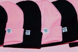 Cuffed M&C Tag Beanie in Black - Murs & Co