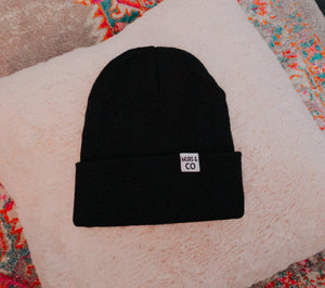 Cuffed M&C Tag Beanie in Black