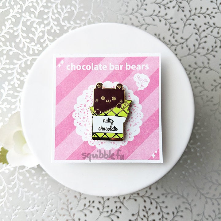 ***RETIRING last chance!*** Choco Bar Bears | Nutty Chocolate Enamel Pin